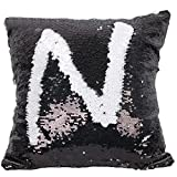 Sleepwish Two Tones Reversible Sequin Mermaid Pillow Cases Glitter Cushion Cover Sparkling Throw Pillow Case (Black and White)