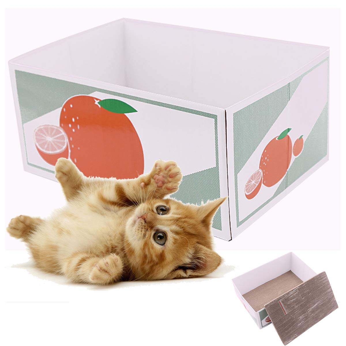 TEEMO Funny Scratcher Cardboard with Box, 2 Pieces in one Box.Catnip Included.