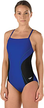 SPEEDO Girls PowerFLEX Eco Revolve Splice Energy Back One Piece Swimsuit Youth