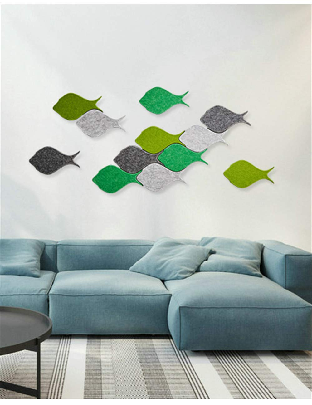 Memo Bulletin Board Set w//Push Pins Decorative Fish Felt Tiles Wall Notice Board Notes Photos Goals Pictures Drawing Kindergarten Home Creative Office Decor Sofa TV Background Wall Decal 4pcs