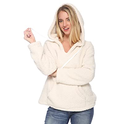 Anna-Kaci Womens Sherpa Pullover Fuzzy Hoodie Tops with Pockets Fleece Sweatshirts Outwear at Women's Clothing store