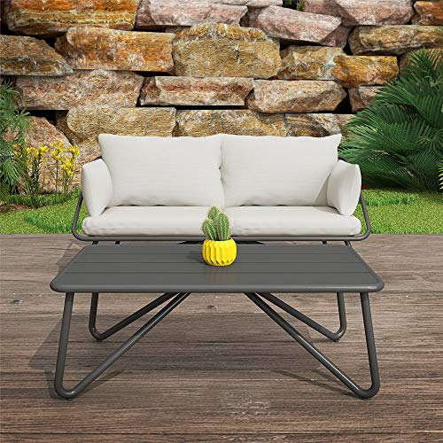 Novogratz 88062CWGE Poolside Gossip Collection, Teddi Loveseat and Coffee Table, Charcoal Outdoor-and-Patio-Furniture-Sets