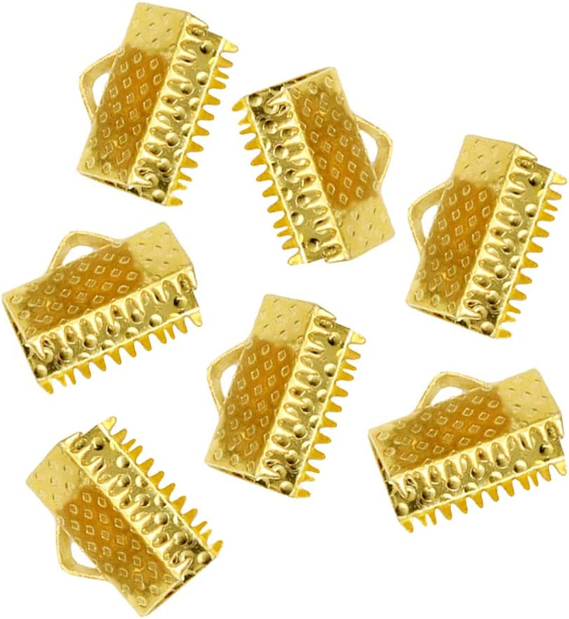 SUPVOX 100Pcs 1.3Cm Extremos de La Cinta Cierres Metálicos de Cierre Pinzas con Textura Engarzadas Extremos Del Cable para Marcadores Diy Collares Pulsera Fabricación de Joyas (Dorado)