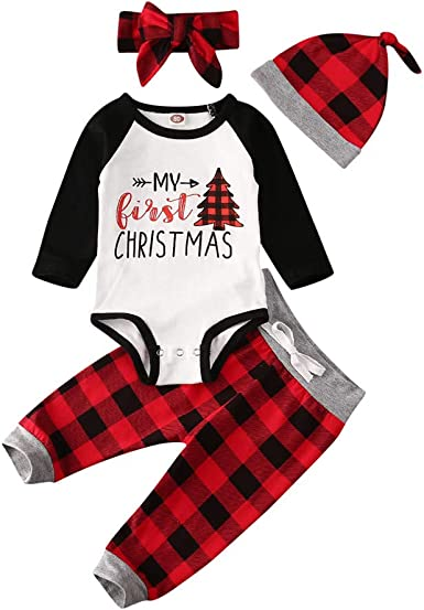 Amazon Com Baby Boy Girl First Christmas Outfit Clothes Long Sleeve Bodysuit Onesie Red Plaid Pants Hat Headband Clothing Sets Clothing