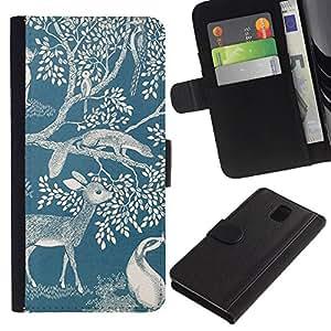 KingStore / Leather Etui en cuir / Samsung Galaxy Note 3 III / Ciervo Naturaleza Primavera Azul Blanco Mármol