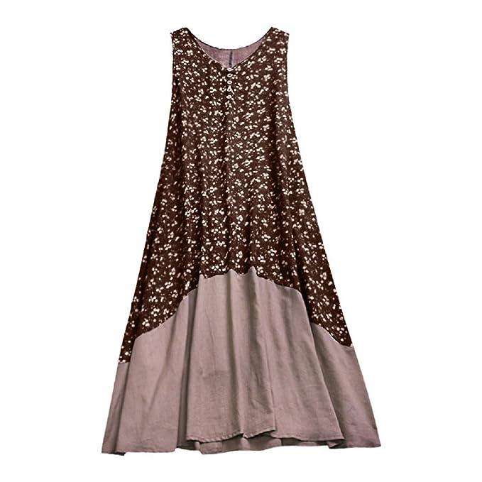 Amazon.com: FAPIZI Womens Plus Size Cotton Linen Casual Sleeveless ...
