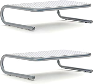 Mind Reader 2METMONST-SIL Metal Monitor Stand, Monitor Riser for Computer, Laptop, Desk, iMac, 2-Pack, Silver