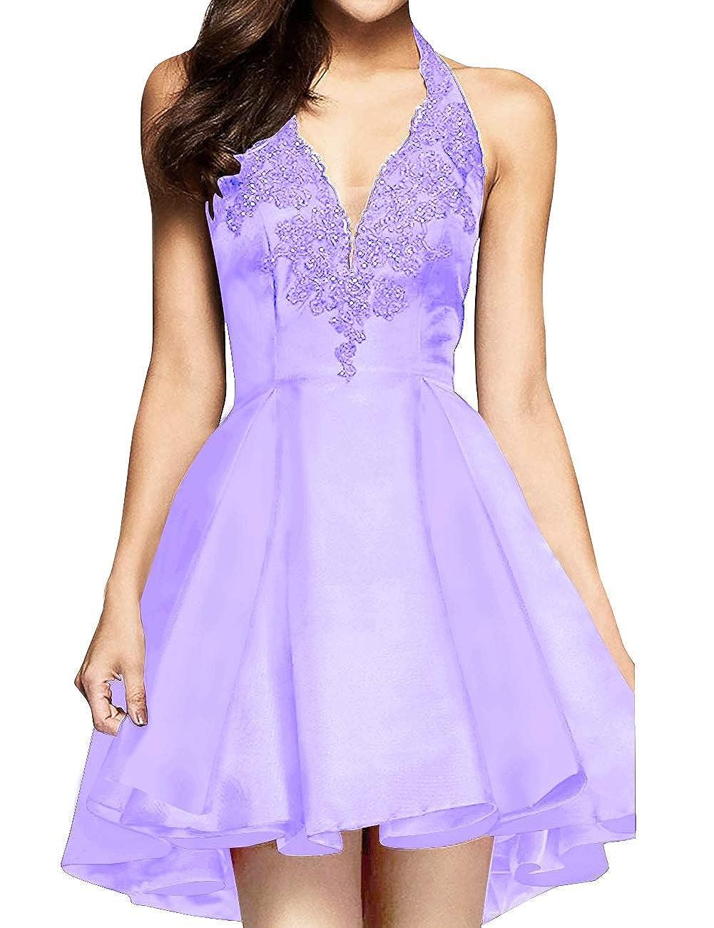 purplec MorySong Women's Applique Lace Satin Halter Neck Short Homecoming Cocktail Dress