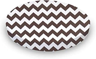 product image for SheetWorld Fitted Oval Crib Sheet (Stokke Sleepi) - Brown Chevron Zigzag - Made In USA