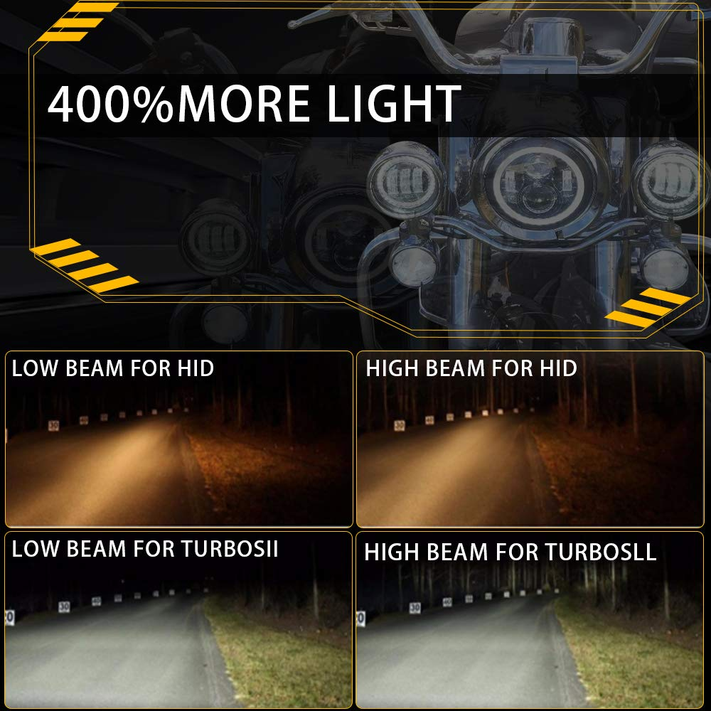 Also Fits Jeep Wrangler DOT Approved 7 Halo LED Headlight With DRL For Harley Davidson Motorcycle Projector LED Headlamp Set Chrome