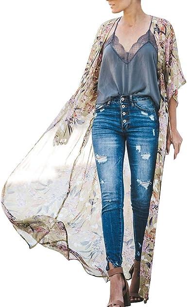 Mujer Camisetas Manga Corta Originales Camisetas Mujer Verano Camisetas Mujer Tallas Grandes Camisas Womens Floral Impresión Chiffon Kimono Largo Cardigan Blusa Chal Suelto Tops Outwear: Amazon.es: Ropa y accesorios