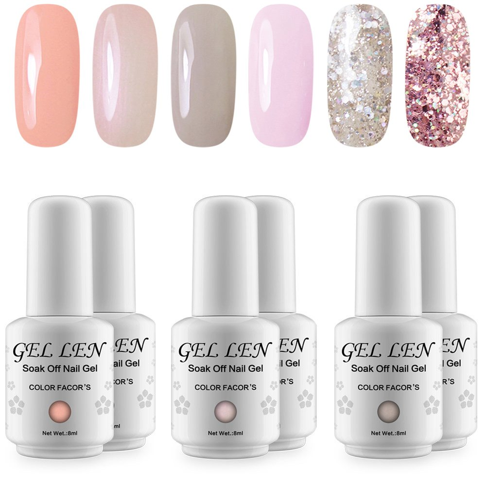 Amazon.com : Gellen Colorful Pastel Series Gel Nail Polish Set (6 ...