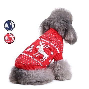 2 Patrones Elk punto suéter de perro, ropa de punto de vacaciones prendas de vestir