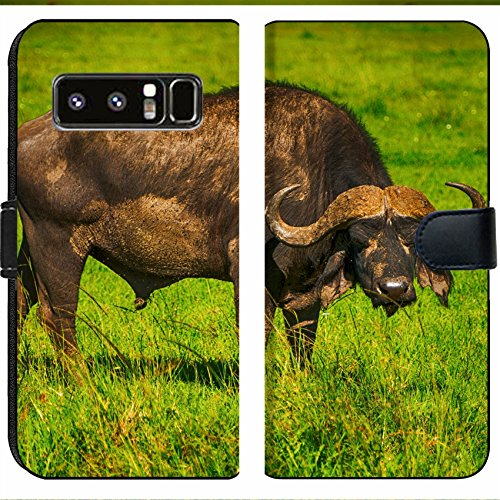 Samsung Galaxy Note 8 Flip Fabric Wallet Case Male Cape Buffalos Standing in Short Grass Image 34700099 Customized Tablemats Stain Re ()