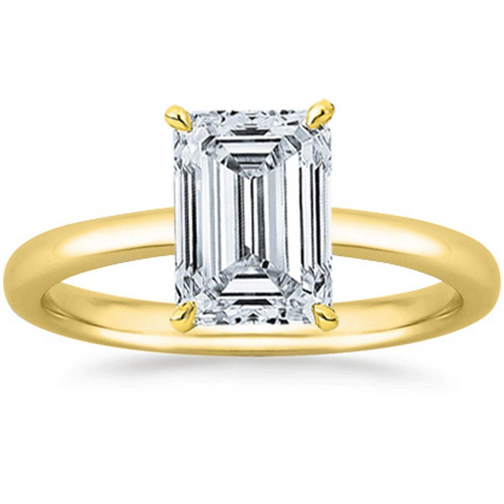 4809955030335c 1 1/2 Carat GIA Certified 18K White Gold Solitaire Emerald Cut Diamond  Engagement Ring (1.5 Ct G-H Color, VS1-VS2 Clarity)