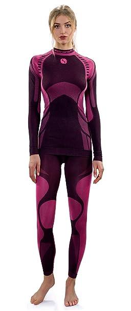 ff9b3f2f5f6c Sesto Senso® Conjunto Térmico Mujer Ropa Interior Térmica de Manga Larga  Camisa y Calzoncillos Largos