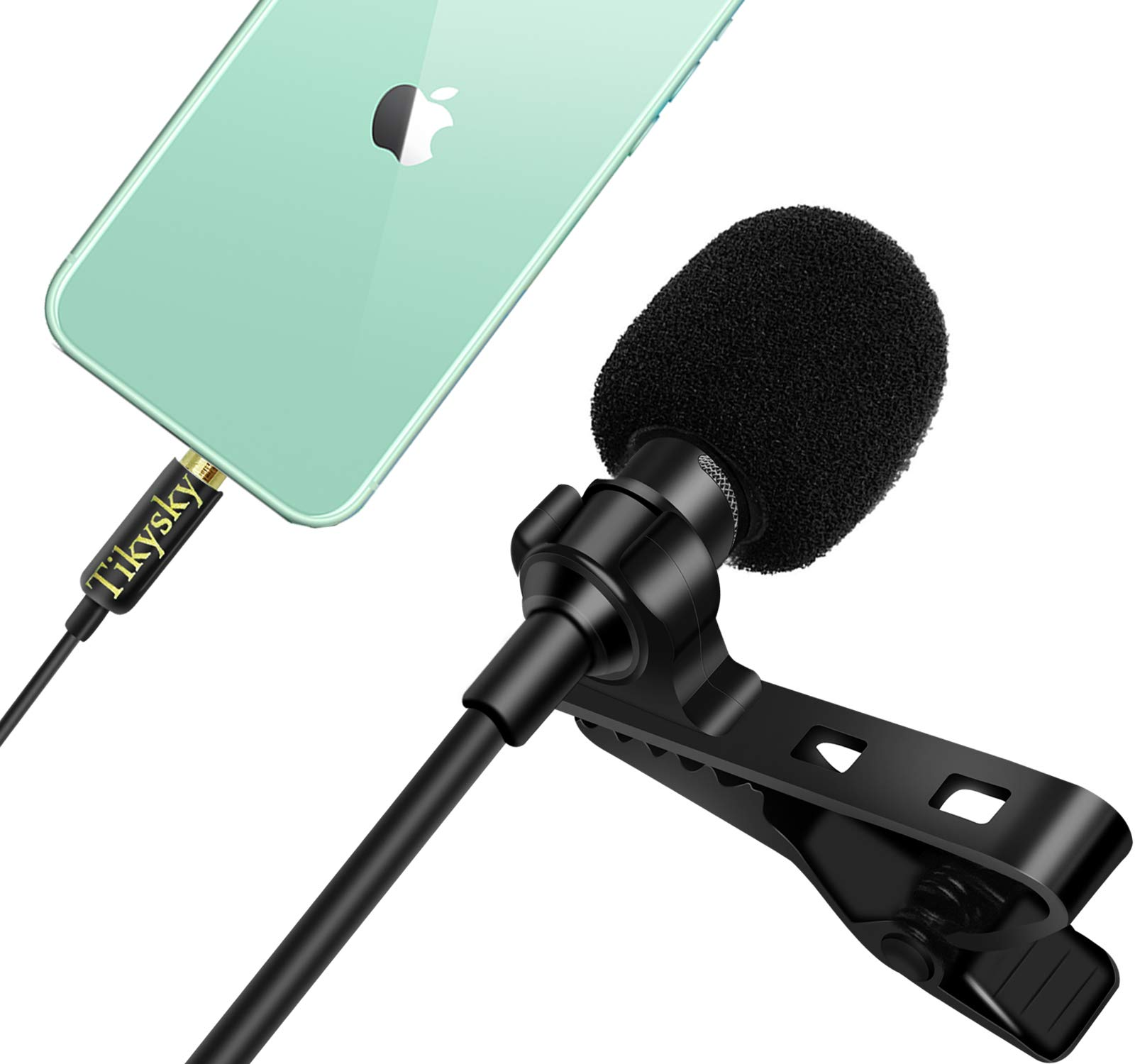 Tikysky Lavalier Microphone for iPhone Android Cell Phone Camera,Lapel Mic Noise Cancellation System Clip On for YouTube Video Podcast
