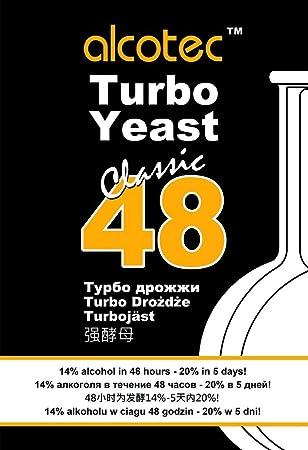 10 x alcotec Turbo Levadura 48h Classic, hasta 21% Alcohol (10 paquetes): Amazon.es: Hogar