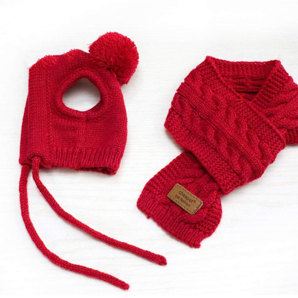 VOVOL Juego de bufanda de lana para perro estilo coreano ropa c/álida Medium para decoraci/ón de mascotas