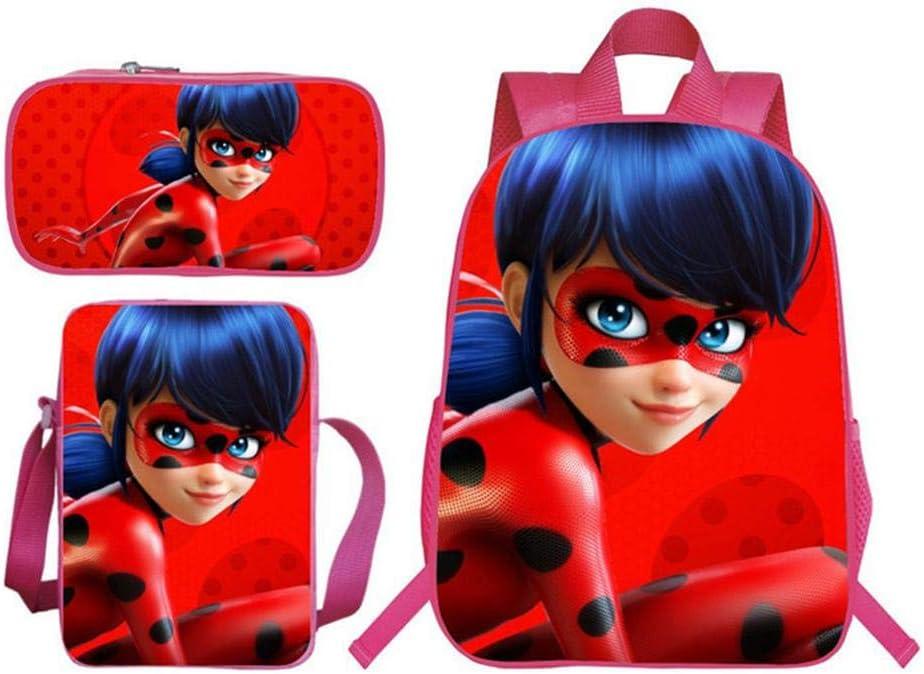 HomeARTS Mochila Escolar Mochilas para Niños 3D Ladybug Girl Reddy Mochila Impresa + Mochila De Mensajero + Estuche De Lápices Paquete Combinado para Niños J: Amazon.es: Hogar