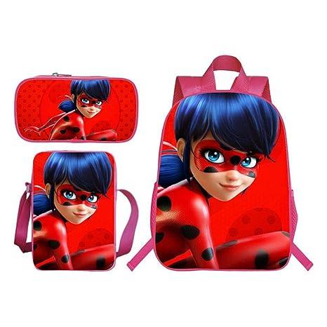 HomeARTS Mochila Escolar Mochilas para Niños 3D Ladybug Girl ...