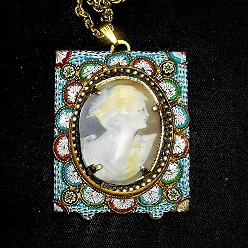 Micro Mosaic Cameo Antique Hand Carved Shell Floral Cameo, in 100 Year Old Micro Mosaic Oval Frame or Mosaic Pendant, Marked Made in Ita ()