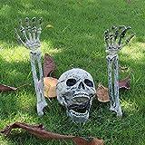 Decoración del Esqueleto de Halloween Cabeza Humana y Manos Esqueleto para Césped,Borde del Camino,Jardín Decoración espantosa