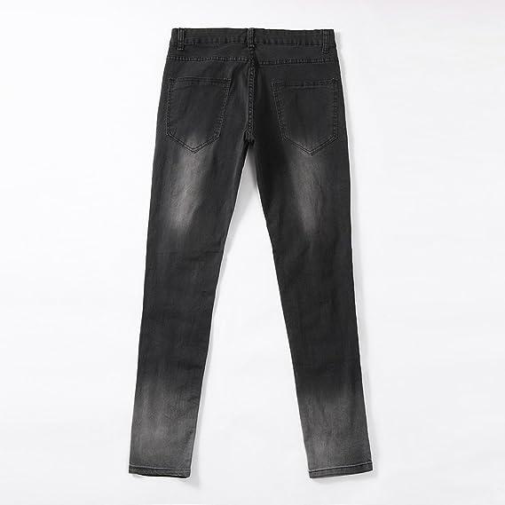 Side Stripe Biker Jeans for Men, Teen Boy Washed Distressed Destroyed Skinny Jeans Stretchy Holes Ripped Denim Pants (Gray-1, 31)