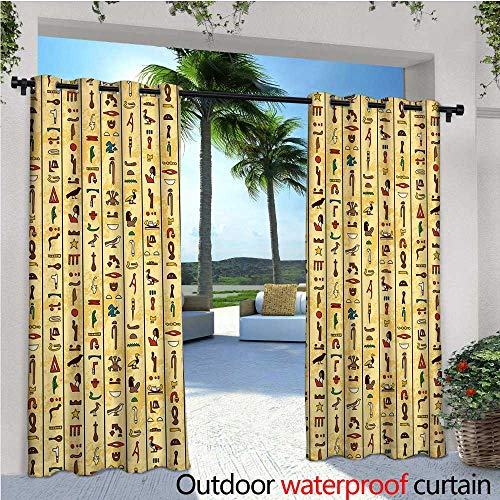 cobeDecor Egyptian Exterior/Outside Curtains Colorful Ancient Hieroglyphics on Papyrus Old Paper Style Background Cairo Culture for Patio Light Block Heat Out Water Proof Drape W120 x L96 Multicolor