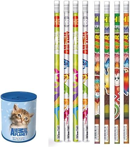 Animal Planet – 9 piezas – I – 1 sacapuntas de metal gato + 8 lapiceros con goma de borrar Safari y – Idea de Regalo para Niños – Gato: Amazon.es: Oficina y papelería