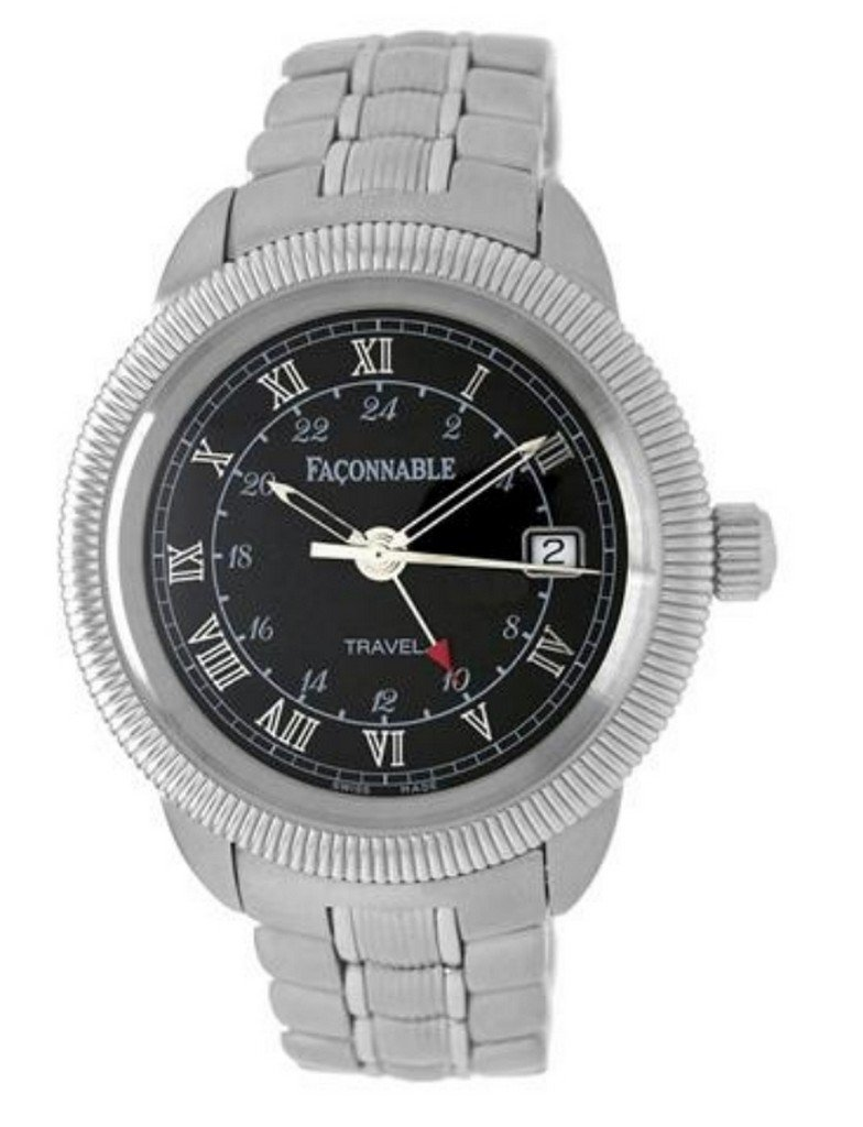 Faconnable Stainless-Steel Travel Watch with Black Dial
