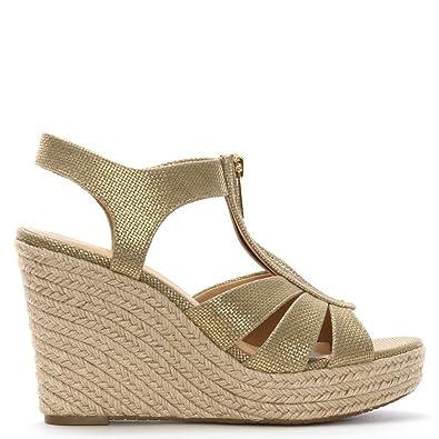 f22081134254 Michael Kors Women s Berkley Metallic Canvas Front Zip Espadrille Wedge  Sandals