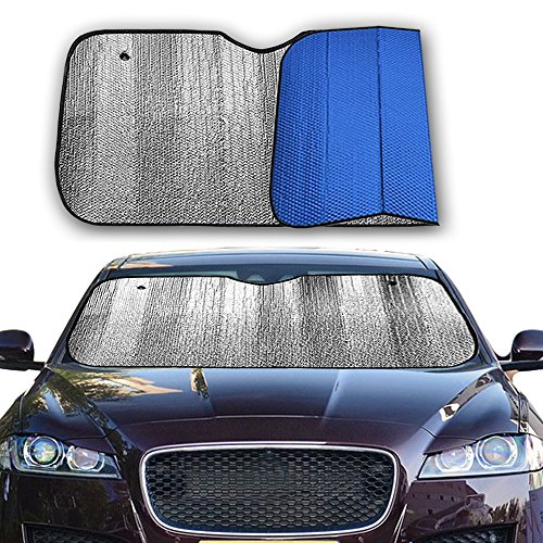 Big Hippo Front Car Sunshade Windshield-Jumbo/Standard Sun Shade Keeps Vehicle Cool-UV Ray Protector Sunshade-Easy to Use Sun Shade-Silver/Blue Sides(Size: 55