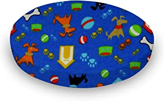 product image for SheetWorld 100% Cotton Flannel Round Crib Sheet, Doggy Play Blue, 42 x 42, Made in USA