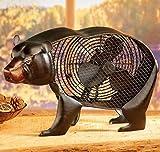 """Decobreeze Decorative Table Fan, Desk Fan, Two Speed Electric Tabletop Fan, Figurine Fan, 7"""", Black Bear"""