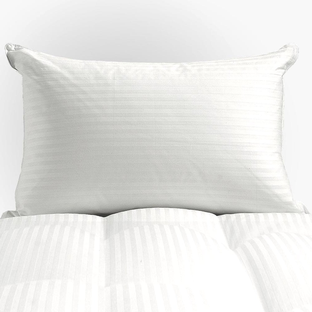 Bed - Pillow Best Decorative Sleeping Pillow For Comfortable Healthy Nap On Living Room Couch, Sofa, Bedroom Mattress At Home. Siberian White Down, Damask Stripe, Standard/Queen. Cozy Bedding.