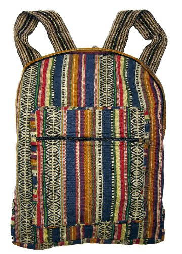 Blue Woven Ethnic Fabric Backpack By Original Collections ()