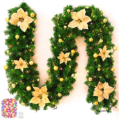 (Chnaivy 9Ft Pre-Lit Christmas Garland with Colorful 60-Led Light Artificial Wreath Fireplace Xmas Tree Decoration, Gold,)