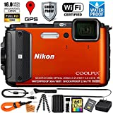 Nikon Coolpix AW130 (Orange - VNA842E1) Digital Camera 32GB EXTREME TOUGH BUNDLE w/ Super Savings Ultra Gentle Microfiber Cleaning Cloth