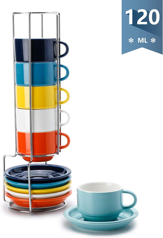 Sweese 405.003 6-teilig Stapelbare Cappuccinotassen Set aus Porzellan Kaffeetassen mit Untertasse und Metall St/änder 120 ml Blaue Serie
