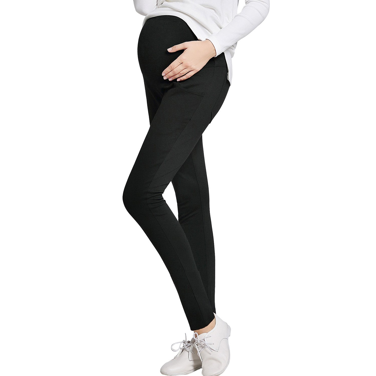 JOYNCLEON Pregnant Women Work Pants Stretchy Maternity Skinny Ankle Trousers Slim for Women (Label XL = US 10-12 fit for Hip 36.6'', Black-0005)