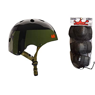 SixSixOne 661 Dirt Lid Skate BMX Helmet Army CPSC with Knee Elbow Wrist Pads Large : Sports & Outdoors