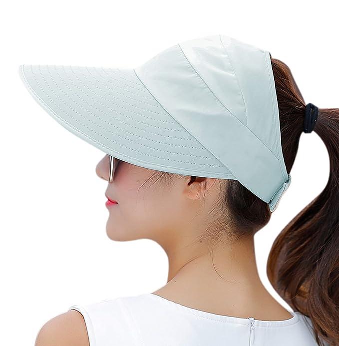 2c2791c87d357 HindaWi Sombreros de sol para mujer de ala ancha con protección UV para  verano y playa