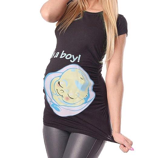 aeaaec4458fc8 Maternity T-Shirt Funny Womens Pregnants Casual Nursing Blouse Maternity T-Shirt  Tops White