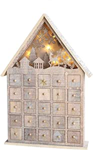 N / A Christmas Wooden Advent Calendar, Traditional LED Wooden Advent Calendar Decoration, Advent Calendar with 25 Lockers Suitable, for Holiday Decoration