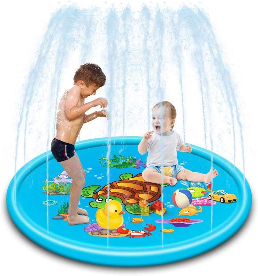 Esterilla de pulverización de agua de Bascar para niños, esterilla hinchable, estera flotante, estera para jugar, juguete sensorial, entretenimiento, centros de actividad de tu bebé, 170/110 cm
