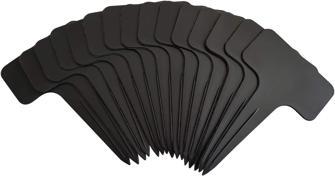 ZUFECY 100 Pcs Plant Labels for Garden, 2.36 x3.84 inches T-Type, Reusable Black Plastic DIY Garden Markers Signs,Waterproof Nursery Tags for Potted Plants, Vegetable Garden, Herbs and Flowers