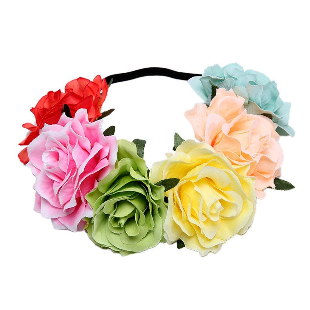 Lujuny Big Rose Flower Crown Headband - Floral Garland for Baby Shower Wedding Birthday Party Beach Photoshoot (Rainbow Headband 1)