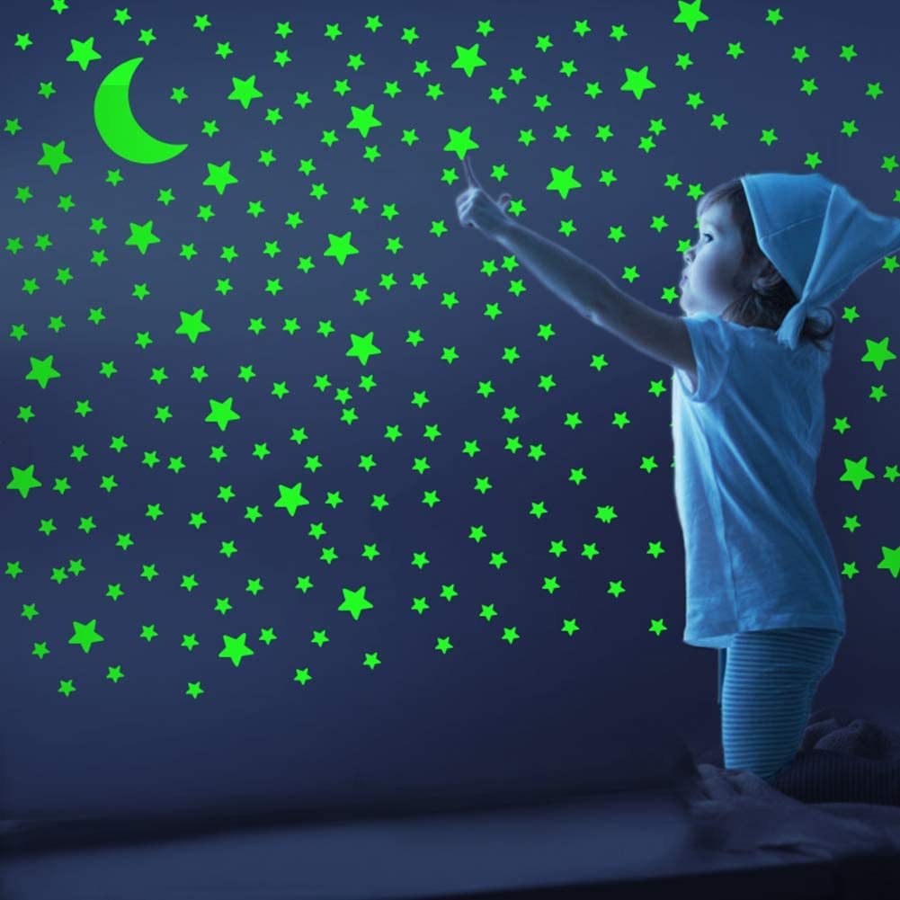Bedroom Realistic No Dots No Squares Set Wall Luminous Adhesives for Room Light up Your Ceiling and Living Room Decoration 338 Star Shaped Stickers and Moon Glow in The Dark Stars and Moon