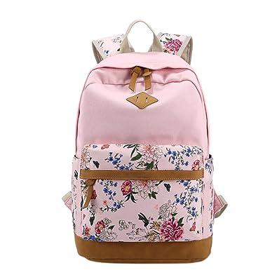 7d4f98d80ea ShiningLove Women Flower Print Canvas Backpack Students Korean Style School  Bag Girls Leisure Travel Rucksack Baby